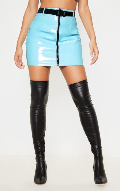 Blue Vinyl Zip Front Belted Mini Skirt