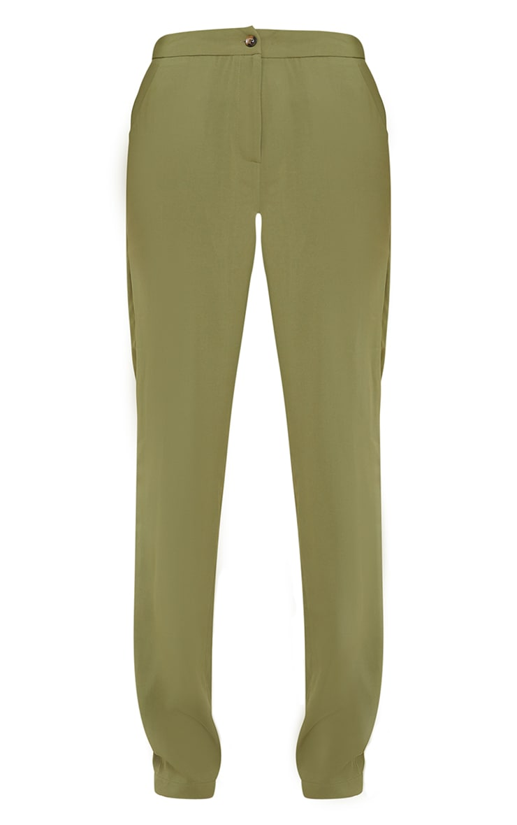Olive Woven Pocket Detail Straight Leg Trousers 5