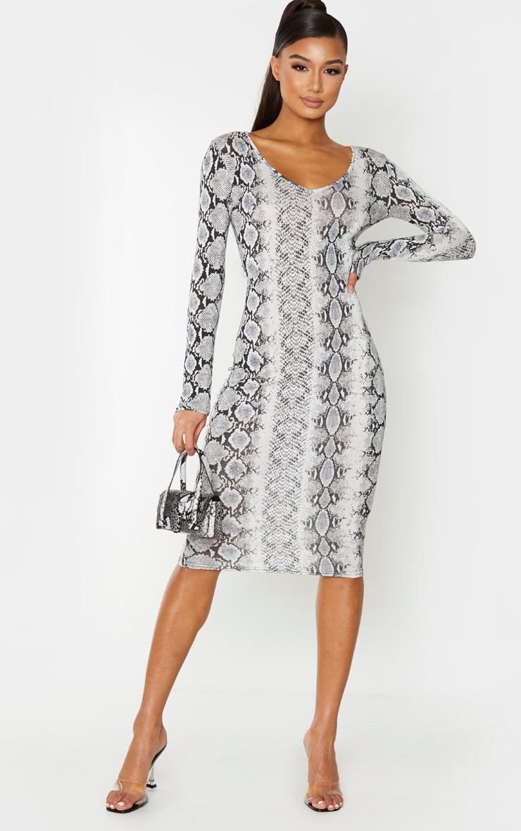 Grey Snake Print Jersey V Neck Long Sleeve Midi Dress 1