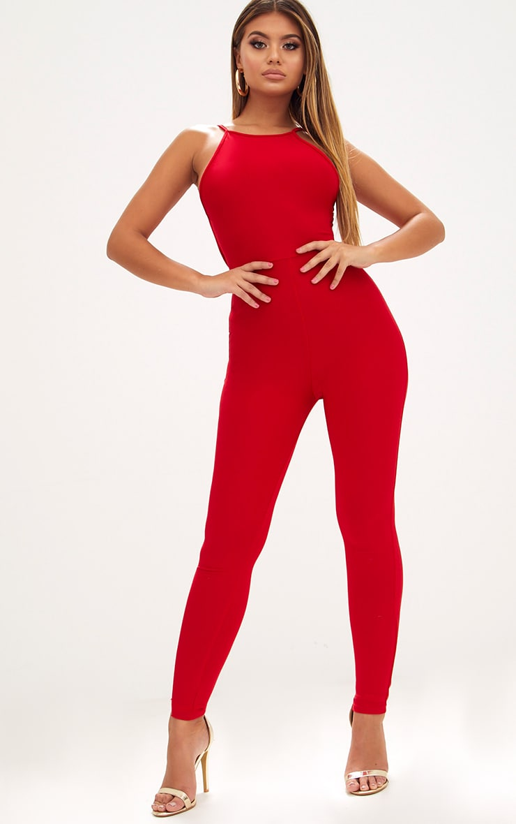 Red Strappy Back Jumpsuit  2