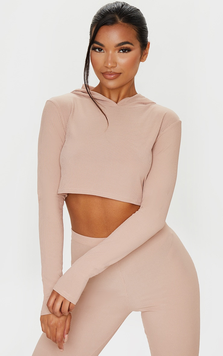 Stone Rib Crop Long Sleeved Hoodie 1