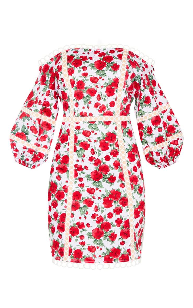 White Floral Print Balloon Sleeve Bardot Bodycon Dress 3