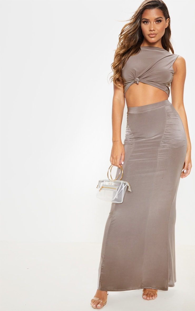 Dove Grey Slinky Ruched Detail Maxi Skirt 1