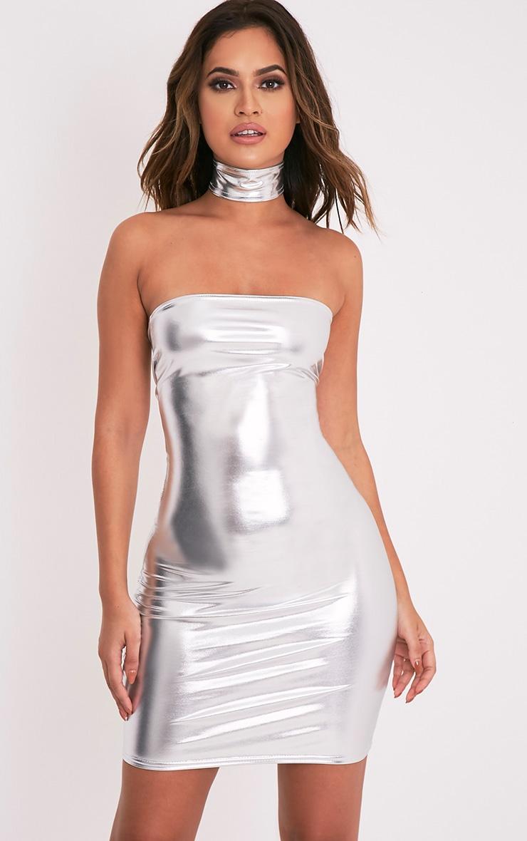 Elener Silver Metallic Choker Detail Bandeau Dress 1