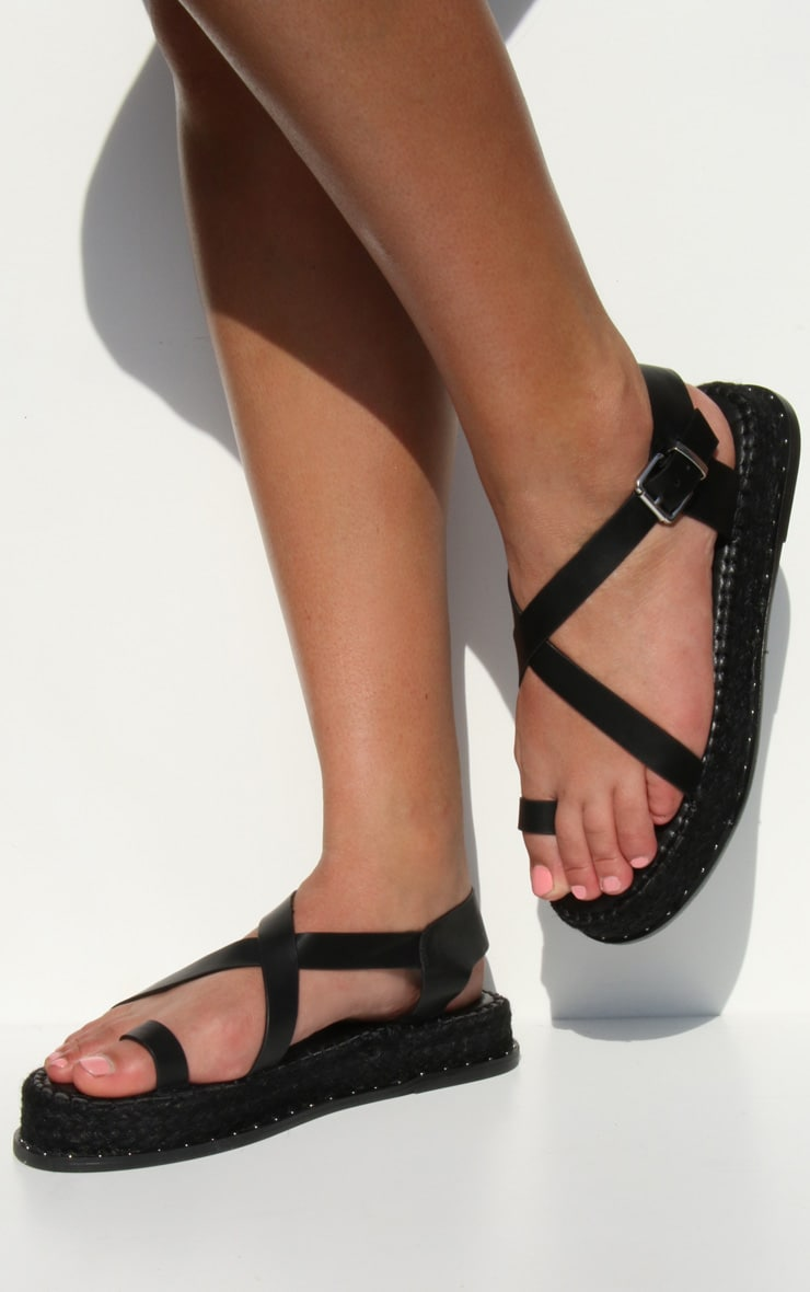 Black Studded Flatform Espadrille Toe Loop Sandals image 1