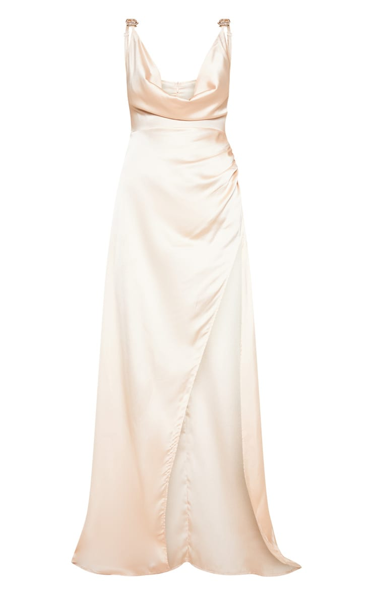 Champagne Satin Cowl Gold Snake Buckle Detail Maxi Dress 3