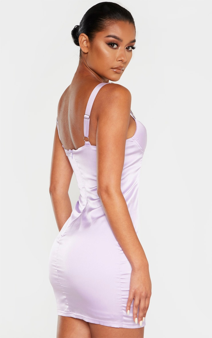 Lilac Satin Embellished Buckle Strap Bodycon Dress 2