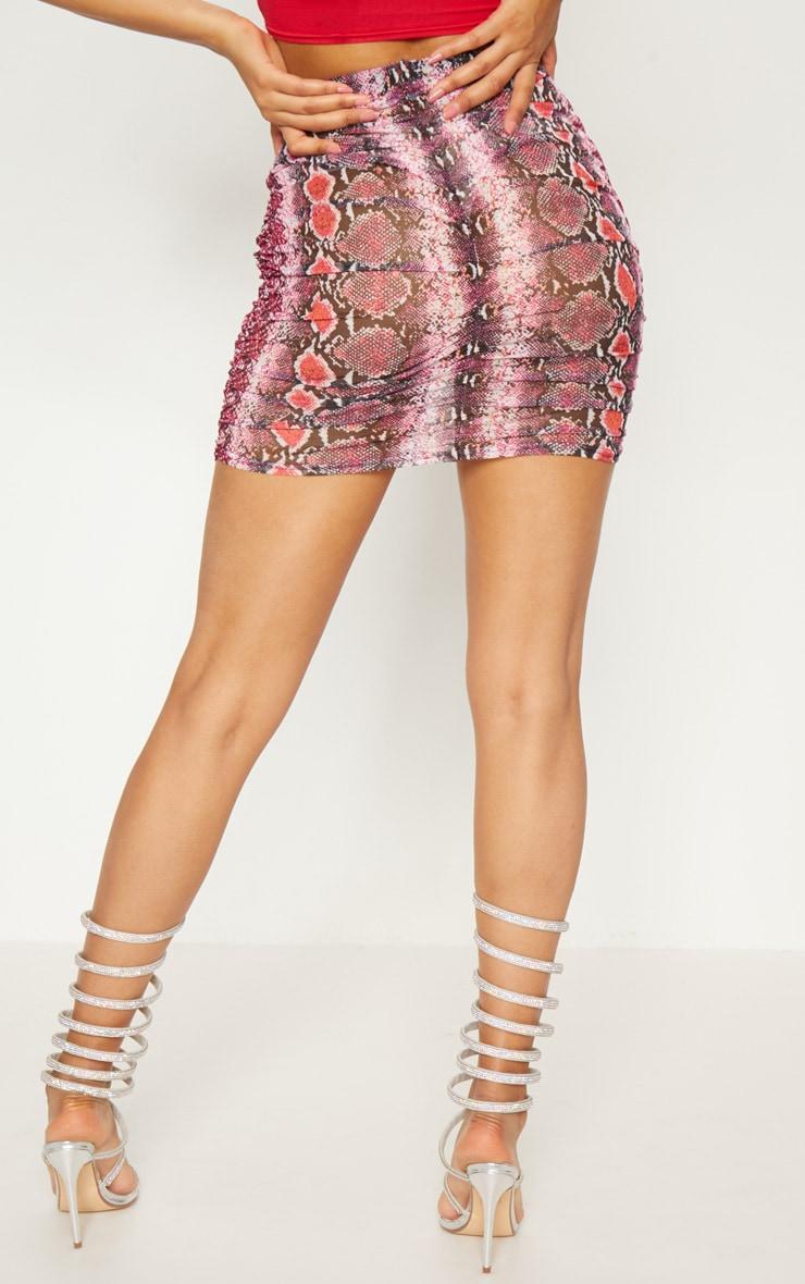 Pink Mesh Snake Print Ruche Mini Skirt 4