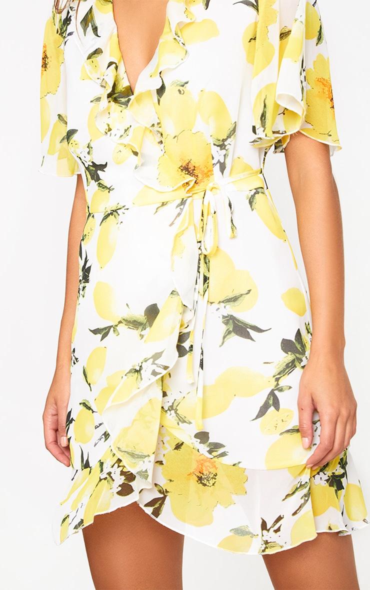 Lemon Print Wrap Dress 5