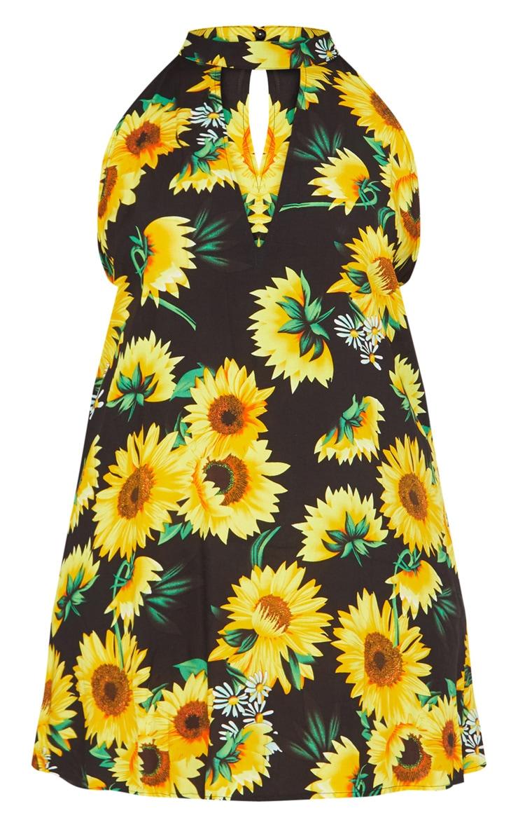 Plus Black Sunflower Print Swing Dress 3