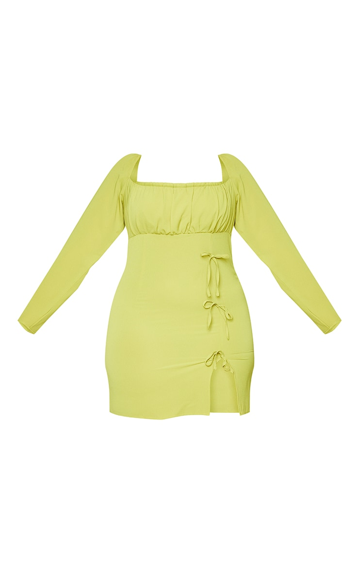 Plus Chartreuse  Bow Detail Side Split Bodycon Dress 5