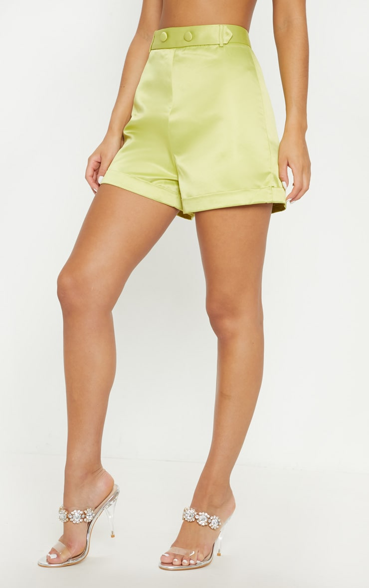 Lime Satin Suit Shorts 2