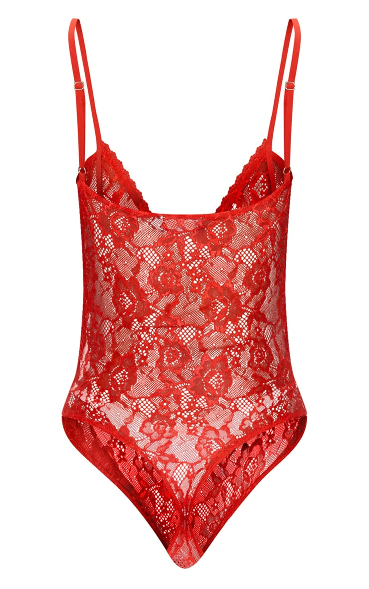 Red Cup Detail Lace Thong Bodysuit  4