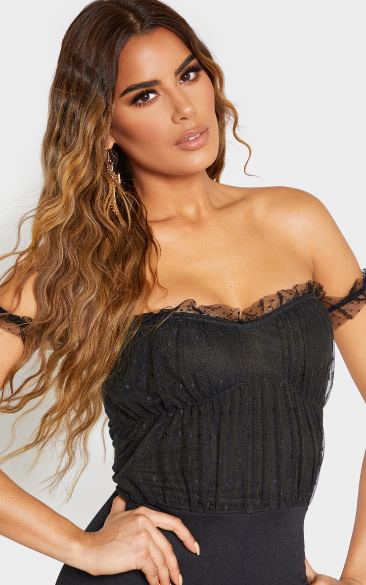 Tall Black Dobby Mesh Bardot Wide Leg Jumpsuit 5
