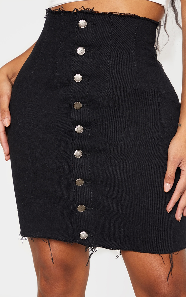 Shape Black Button Front Seam Detail Denim Skirt 6