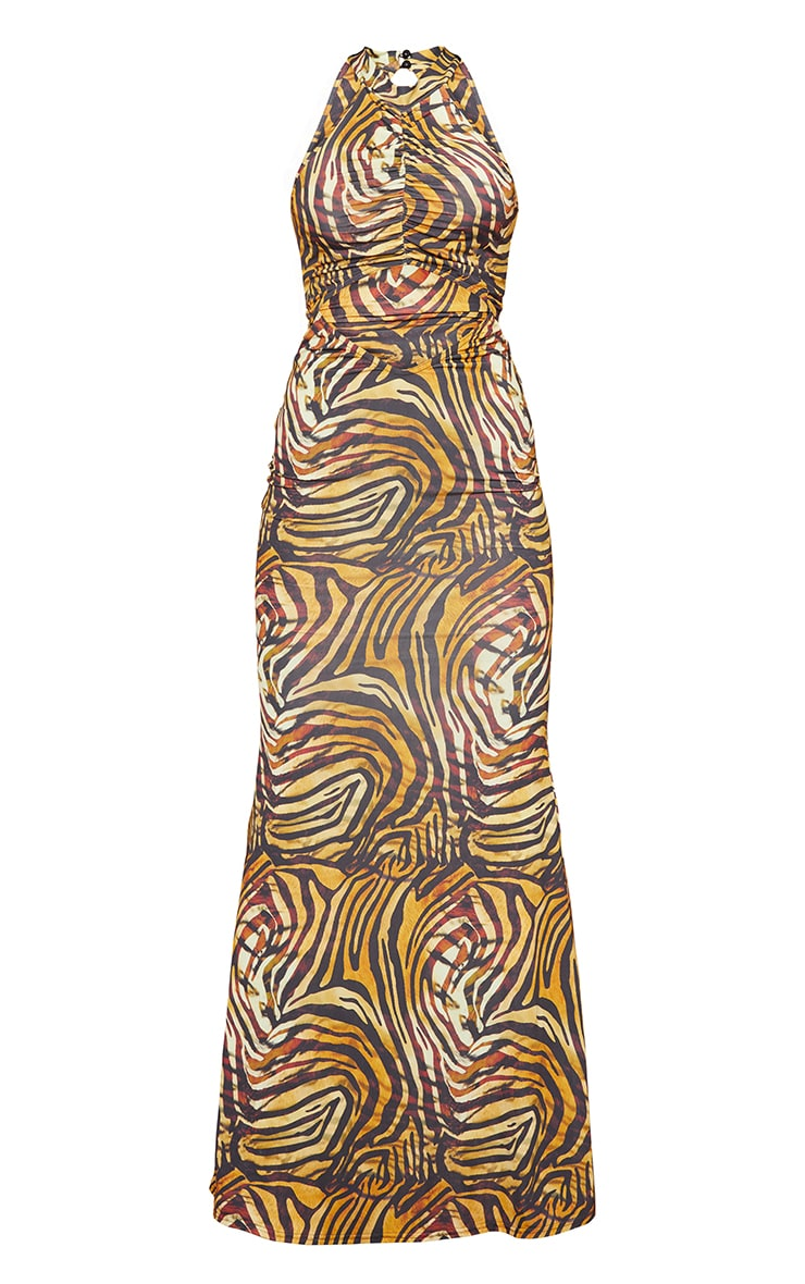 Tall  Brown Tiger Print Marble Print Slinky Cut Out  Maxi Dress 5