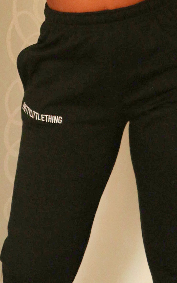 PRETTYLITTLETHING Black Embroidered Slogan Joggers 4