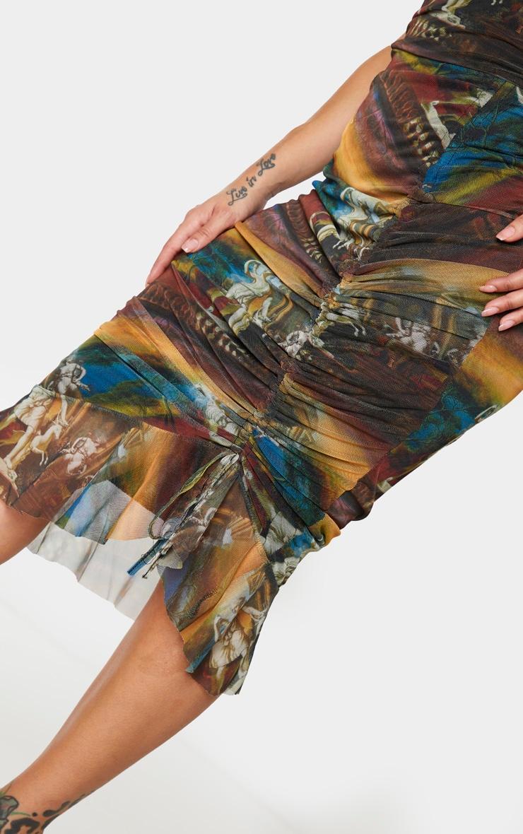 Shape Brown Renaissance Print Mesh Cowl Ruched Midi Dress 4