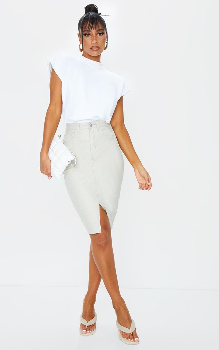 Stone Coated Denim Midi Skirt 1