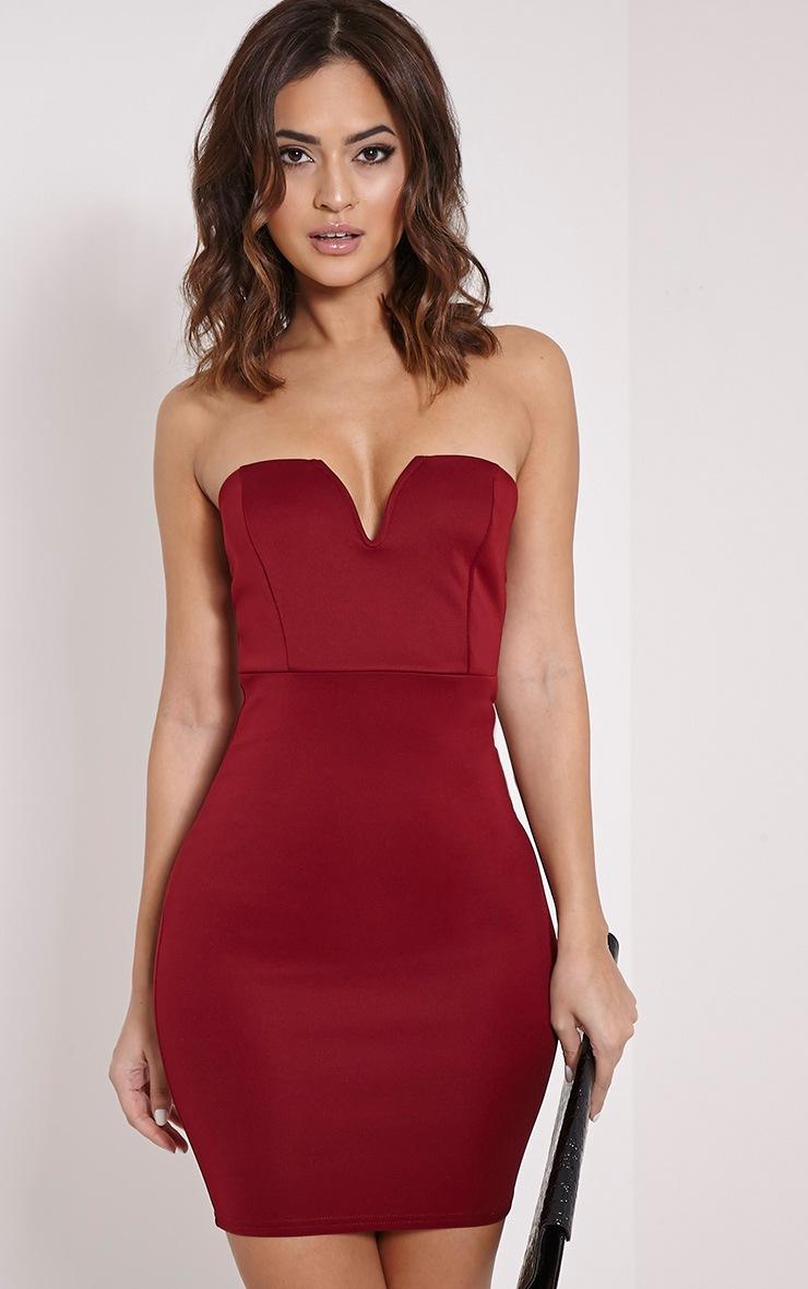 Michelle Burgundy Bandeau Dress 1