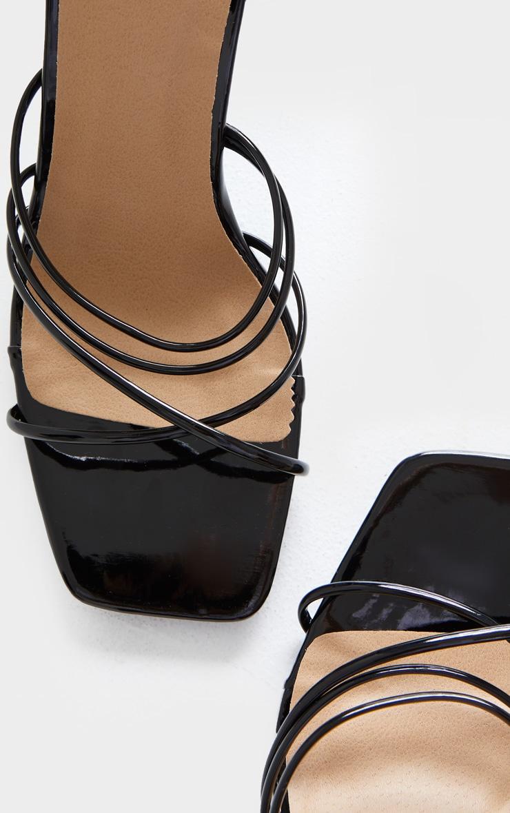 Black Squared Strappy Heels 5
