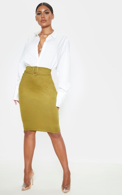 Olive High Waisted Belted Midi Skirt