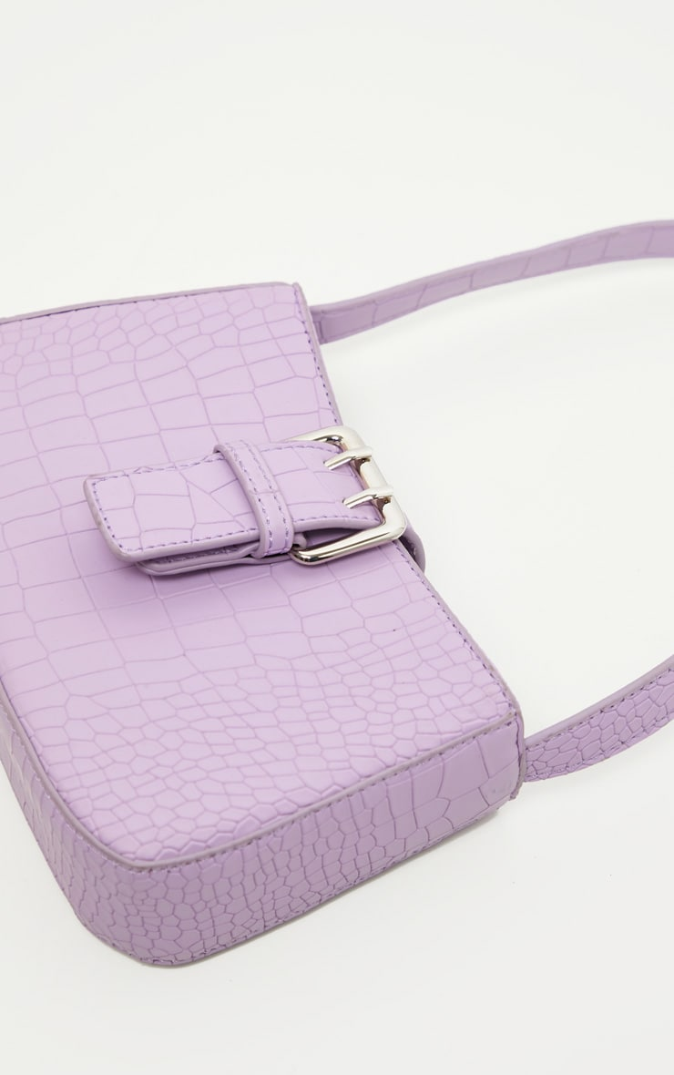 Lilac Croc Buckle Front Shoulder Bag 3