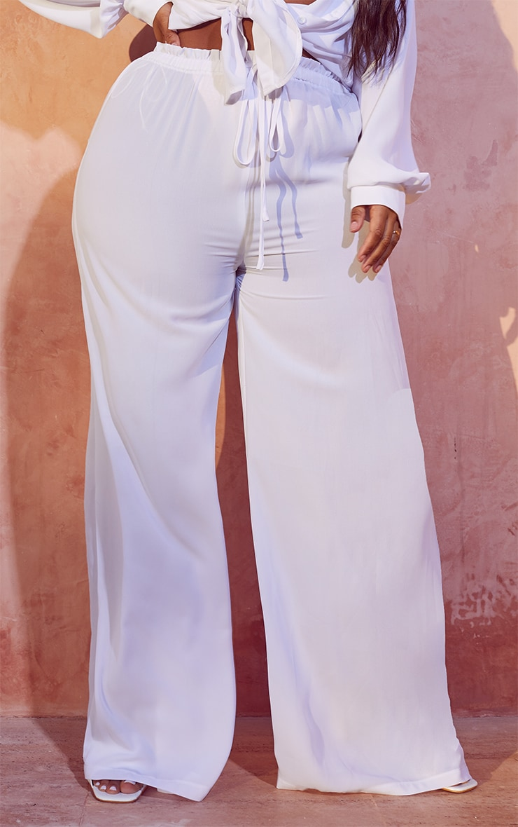 Plus White Tie Waist Beach Pants 2