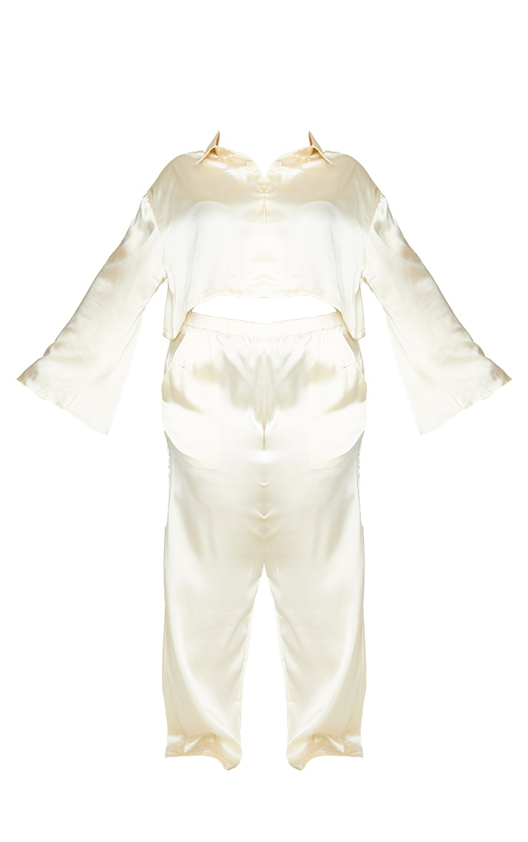 Plus Cream Cropped Long Sleeve Trousers Satin PJ Set 5