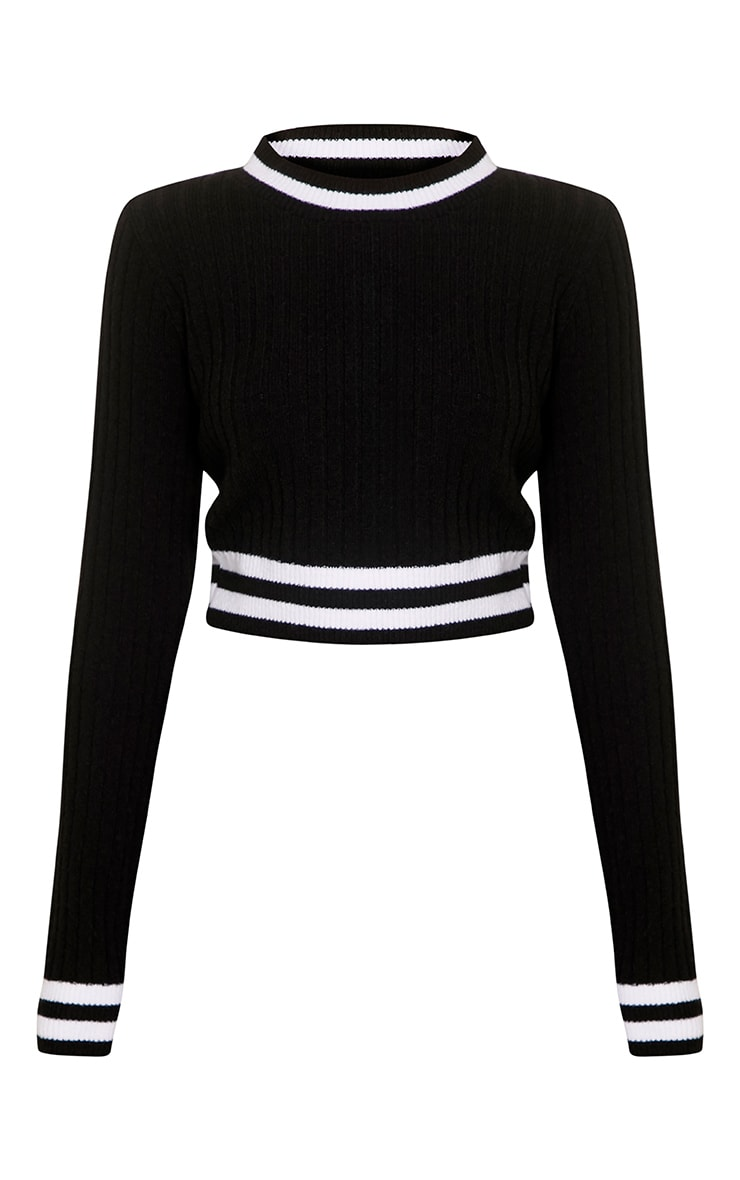 Zofia Black Tipped Knitted Crop Top 3