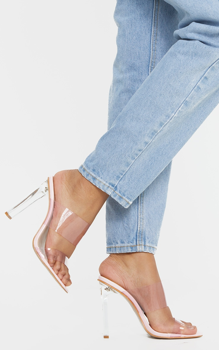 Pink Wide Fit Tinted Clear Twin Strap Mule Heels 2