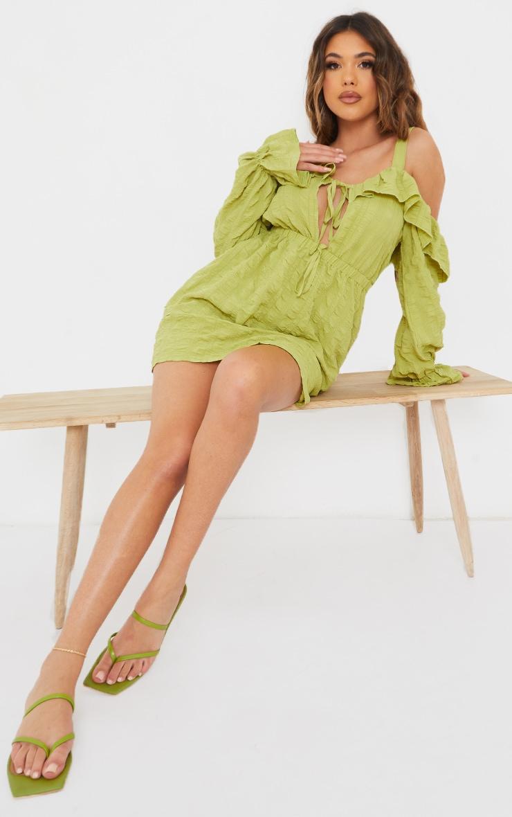 Sage Green Real Leather Toe Loop Slide On Square Toe Sandals 2