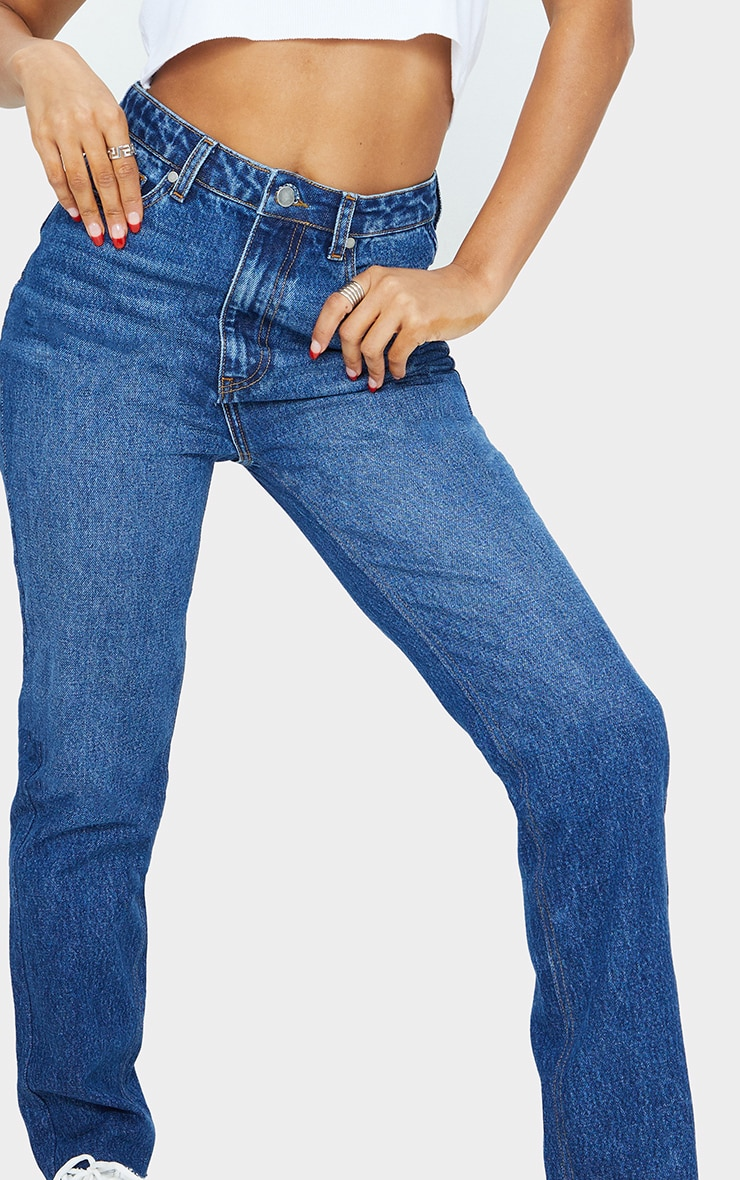 Mid Blue Wash High Waisted Straight Leg Jeans 4