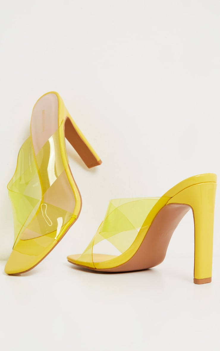 Yellow Flat Heel Clear Mule Sandal 3