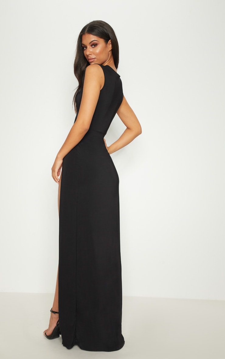 Black Plunge Cut Out Extreme Split Maxi Dress 2