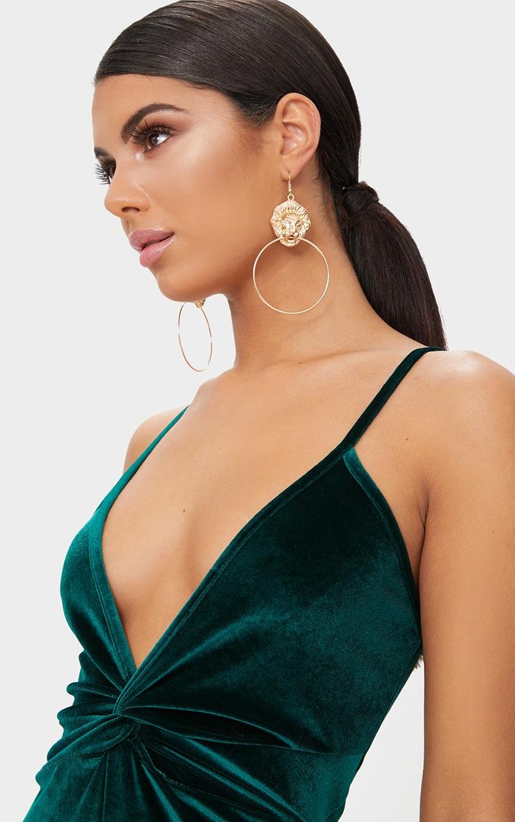 Emerald Green Velvet Plunge Twist Front Midi Dress 5
