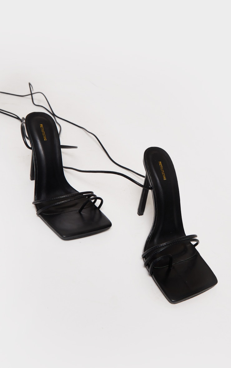 Black PU Square Toe Lace Up Toe Loop Heels 4