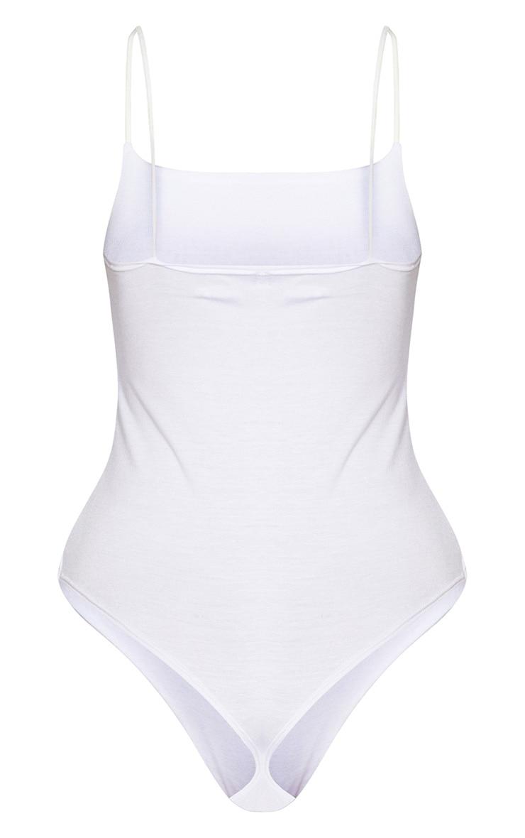 White Jersey Spaghetti Strap Thong Bodysuit  3