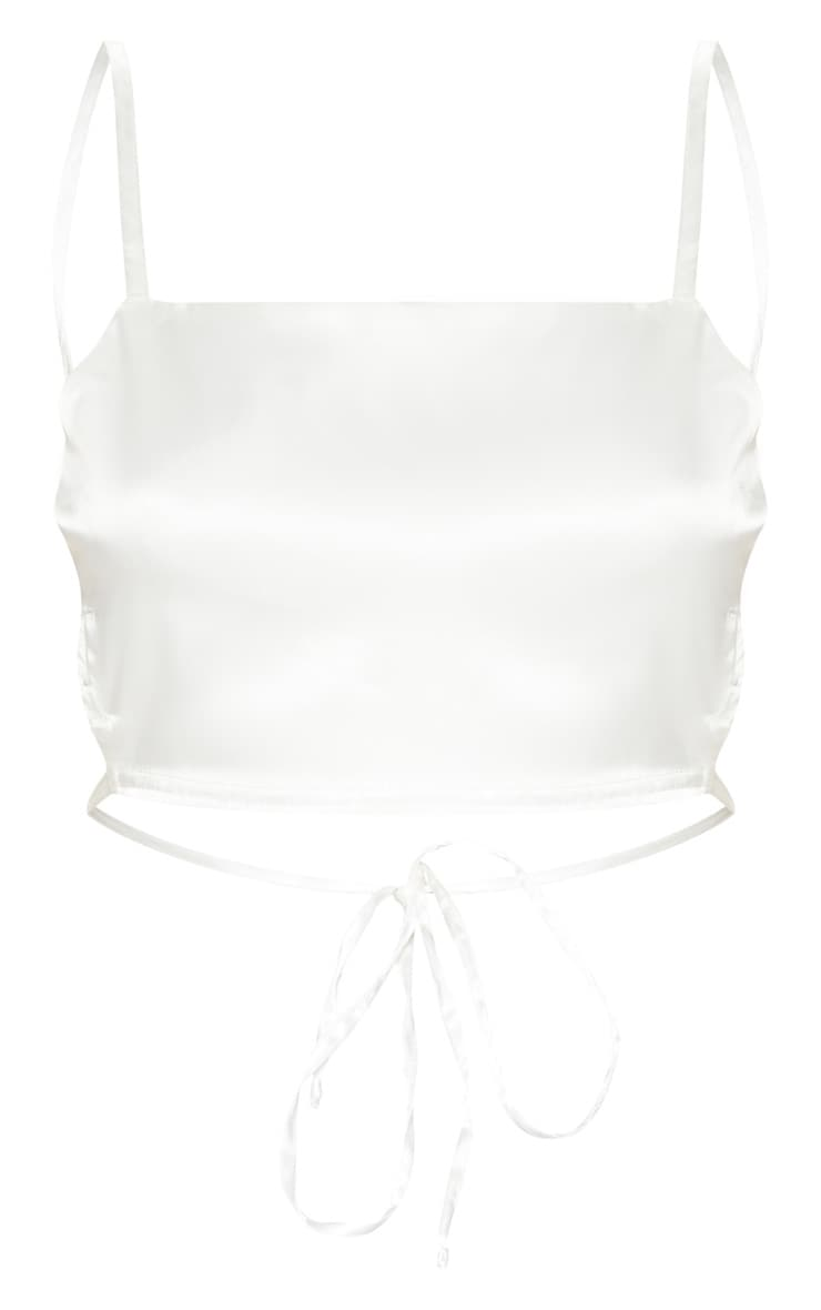 Cream Satin Backless Strappy Crop Top 3