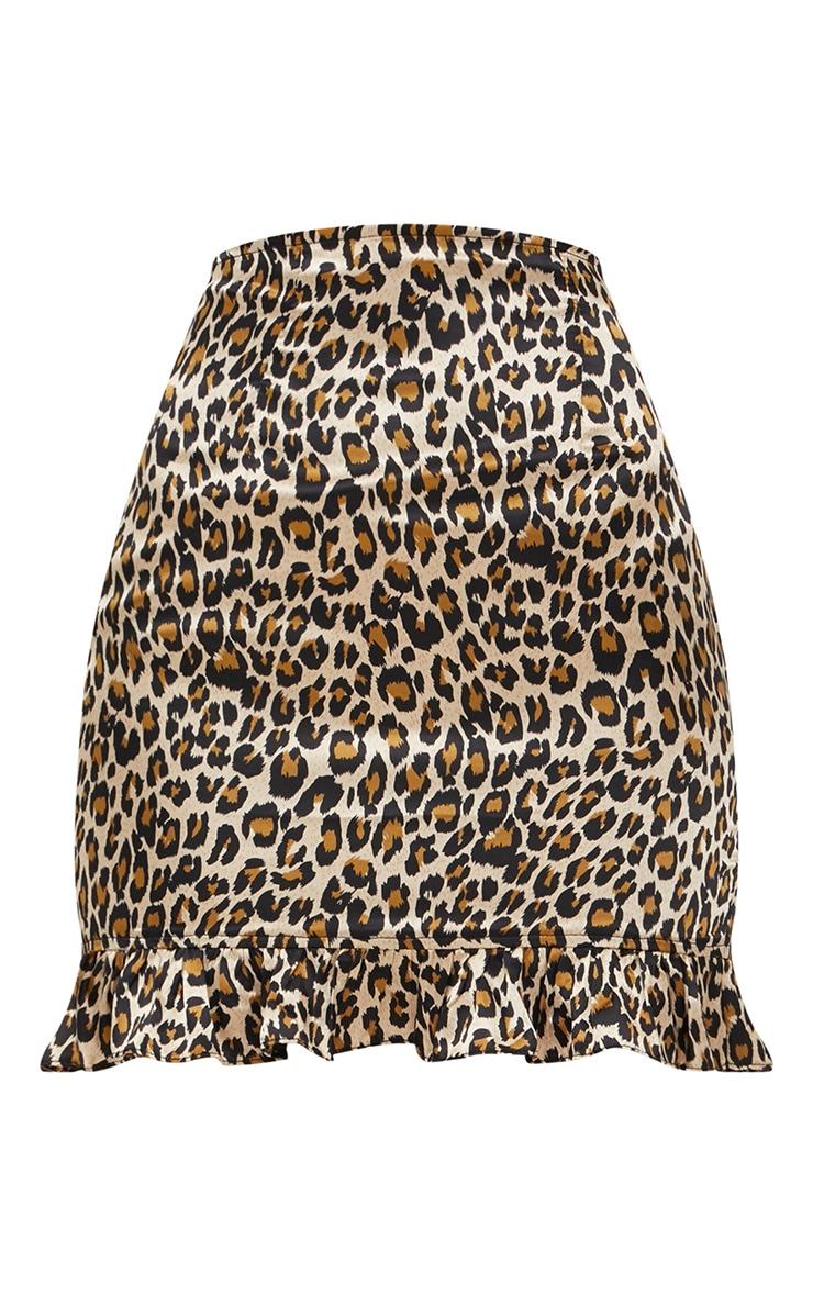 Brown Satin Leopard Print Frill Hem Mini Skirt 3