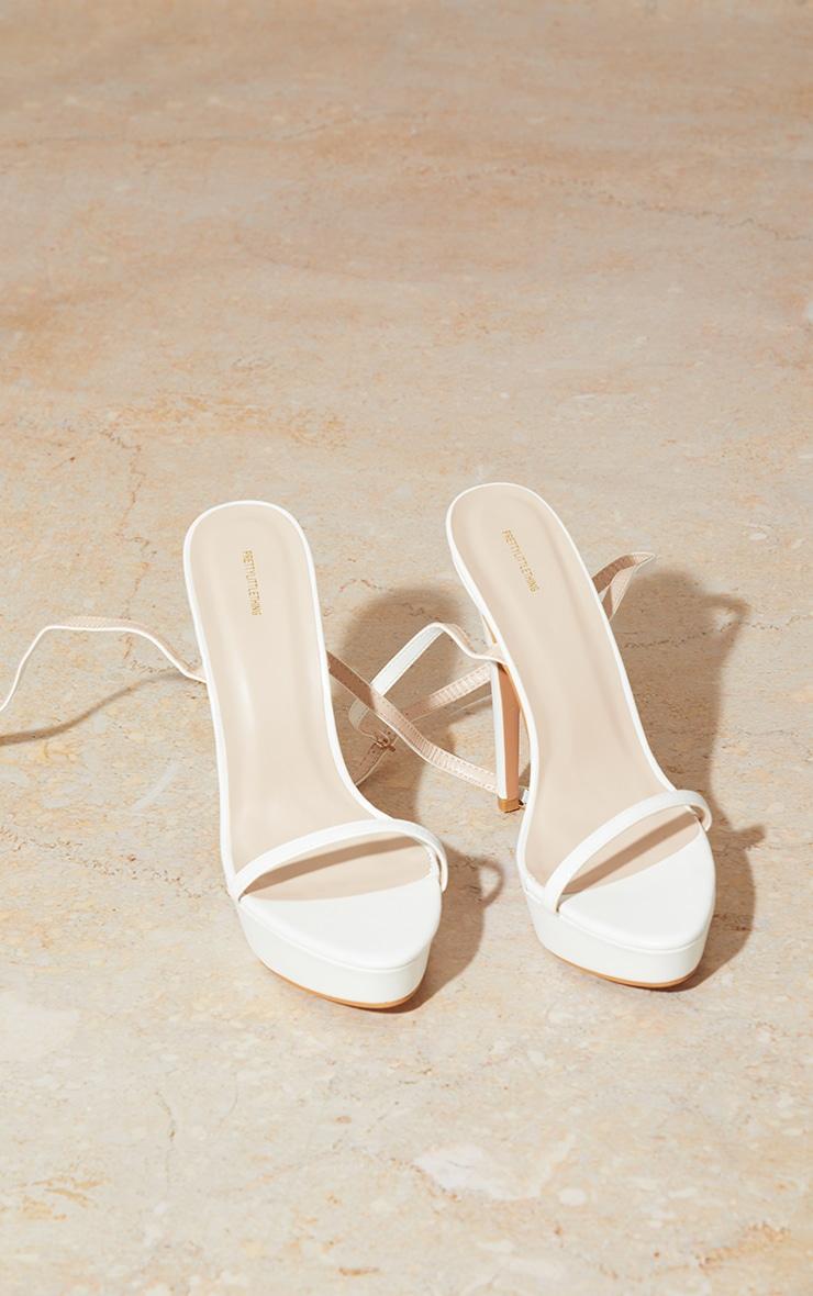White Wide Fit PU Platform Strappy High Heels 4