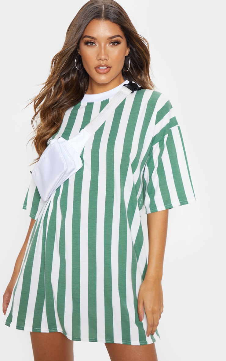 Khaki Vertical Stripe Oversized Boyfriend T Shirt Dress 1