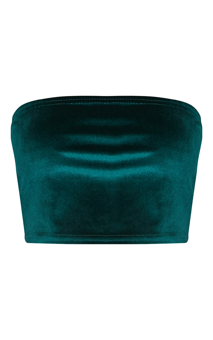 Emerald Green Velvet Bandeau Crop Top 3