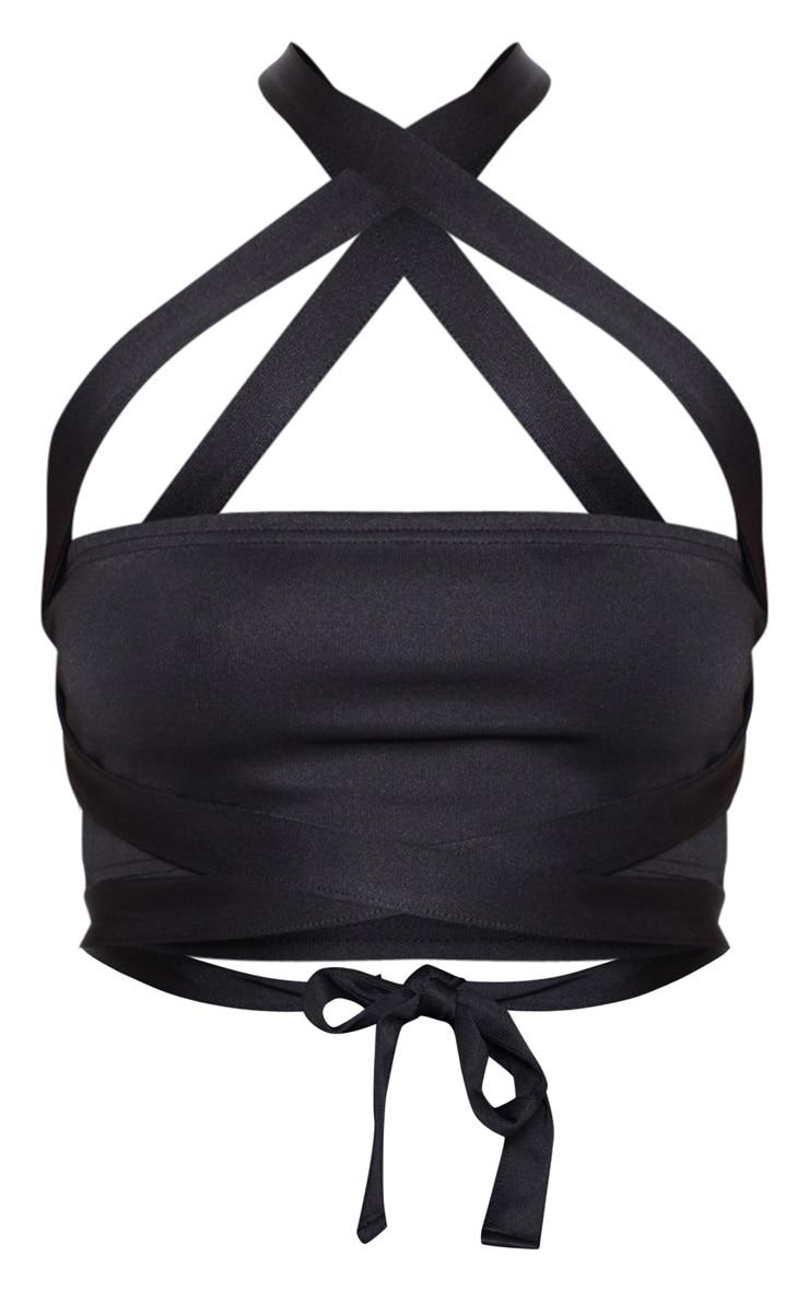 Black High Stretch Tie Detail Bandeau Top 3