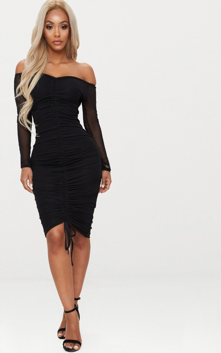 Shape Black Mesh Ruched Bardot Midi Dress 1