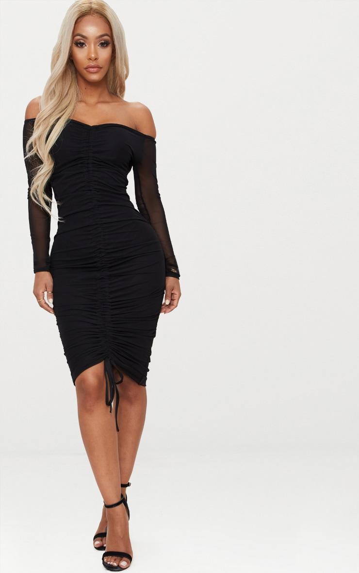 77b097161bfa Shape Black Mesh Ruched Bardot Midi Dress | PrettyLittleThing IE