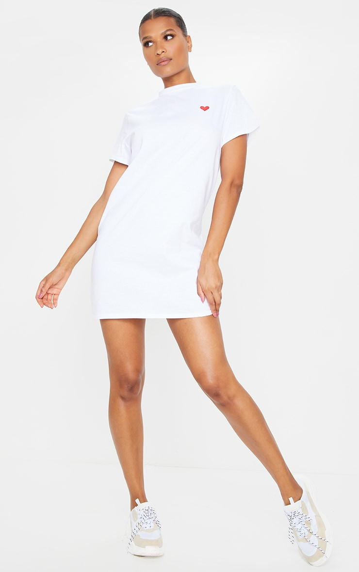 White Heart Embroidered T Shirt Dress 3