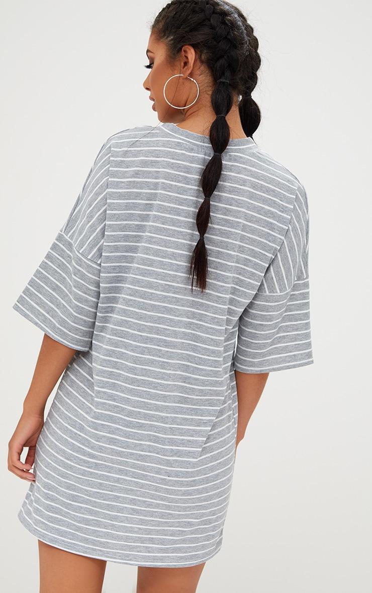 Recyled Grey Oversized Striped T Shirt Dress 2