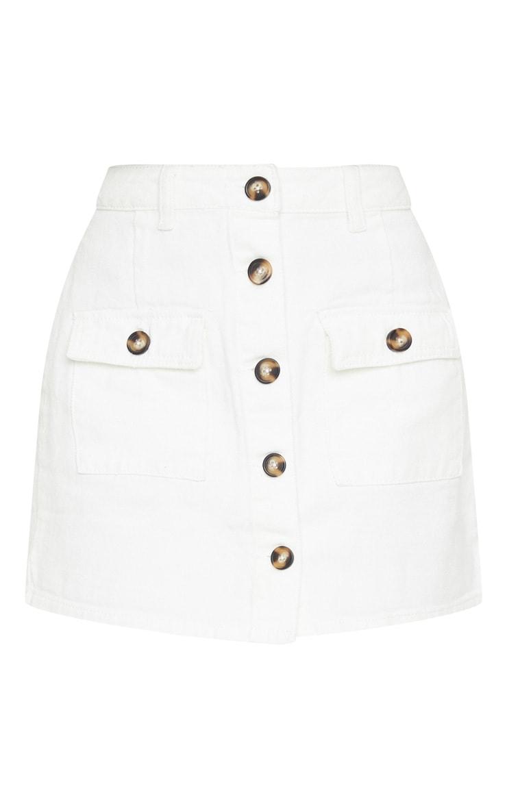 White Button Up Pocket Detail Denim Mini Skirt 6