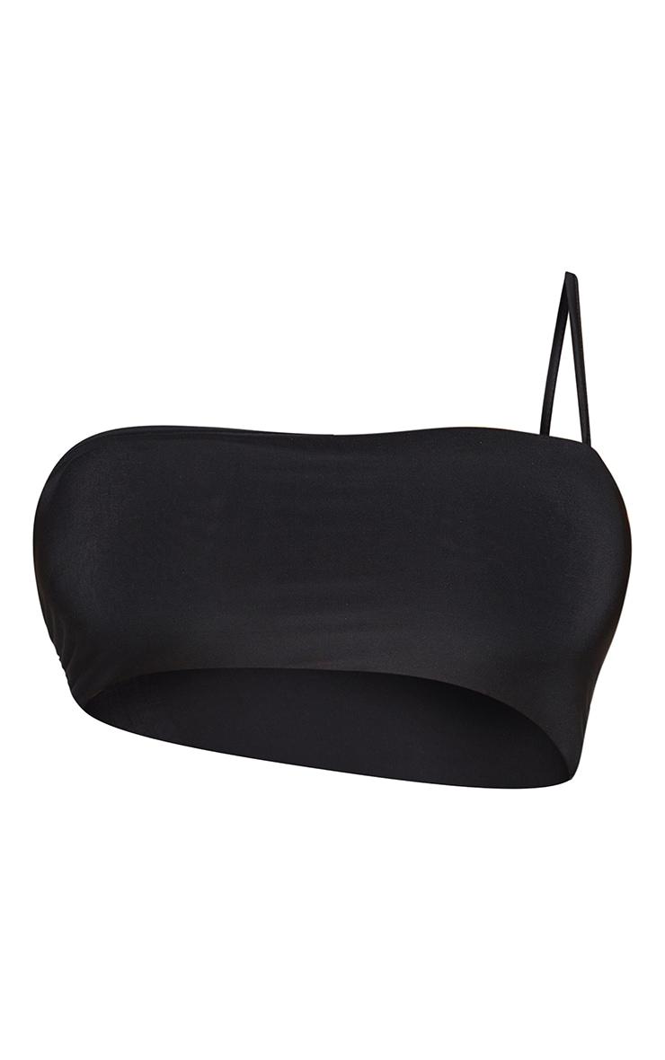 Shape - Crop top slinky noir asymétrique à bretelle unique 5